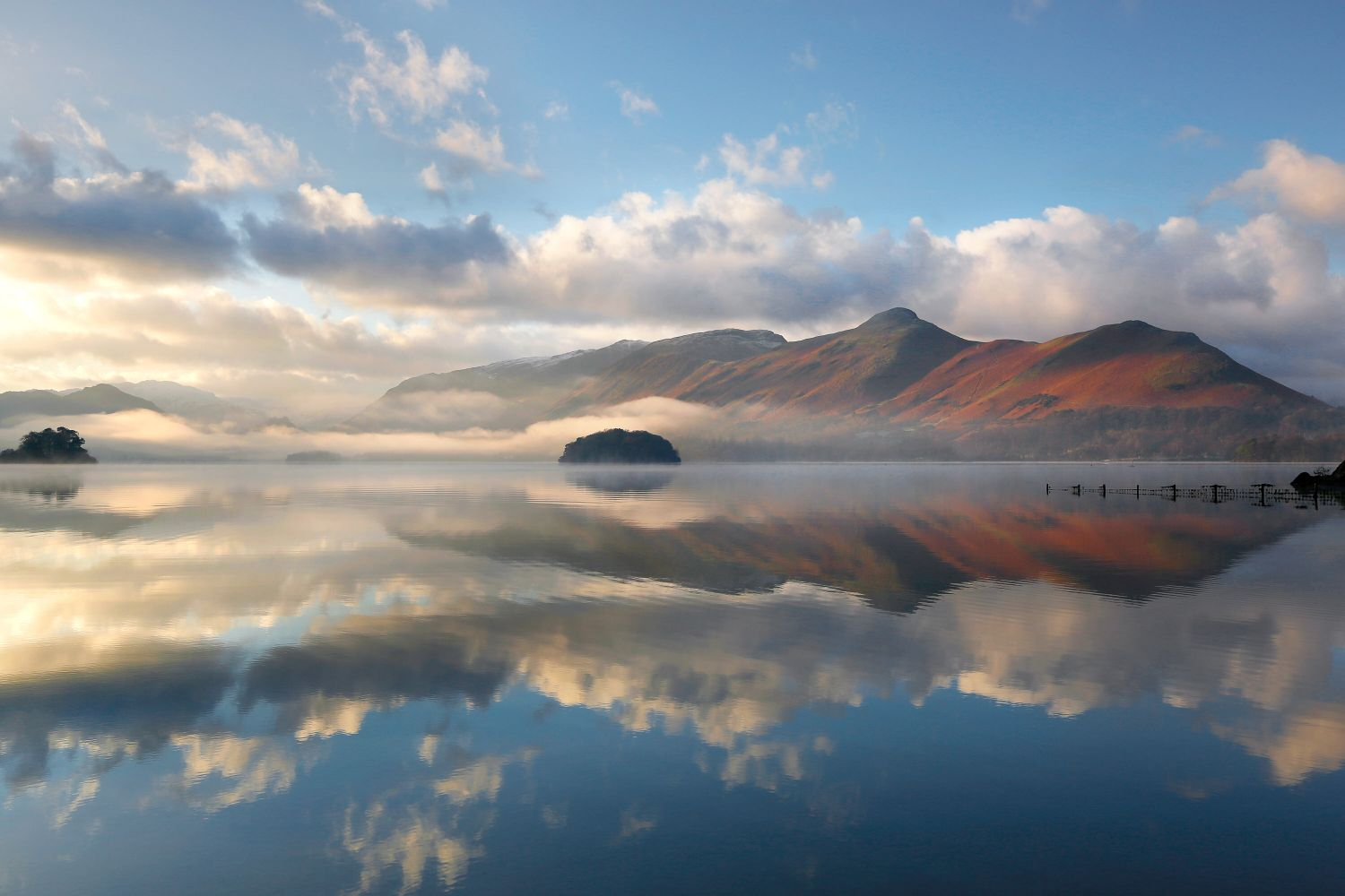 Winter mists over Derwentwater and Catbells