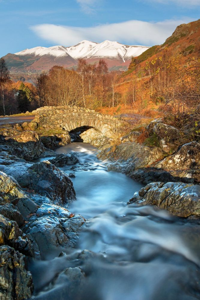 A long exposure shot in Winter sunshine at Ashness Bridge with Barrow Beck in full spate.