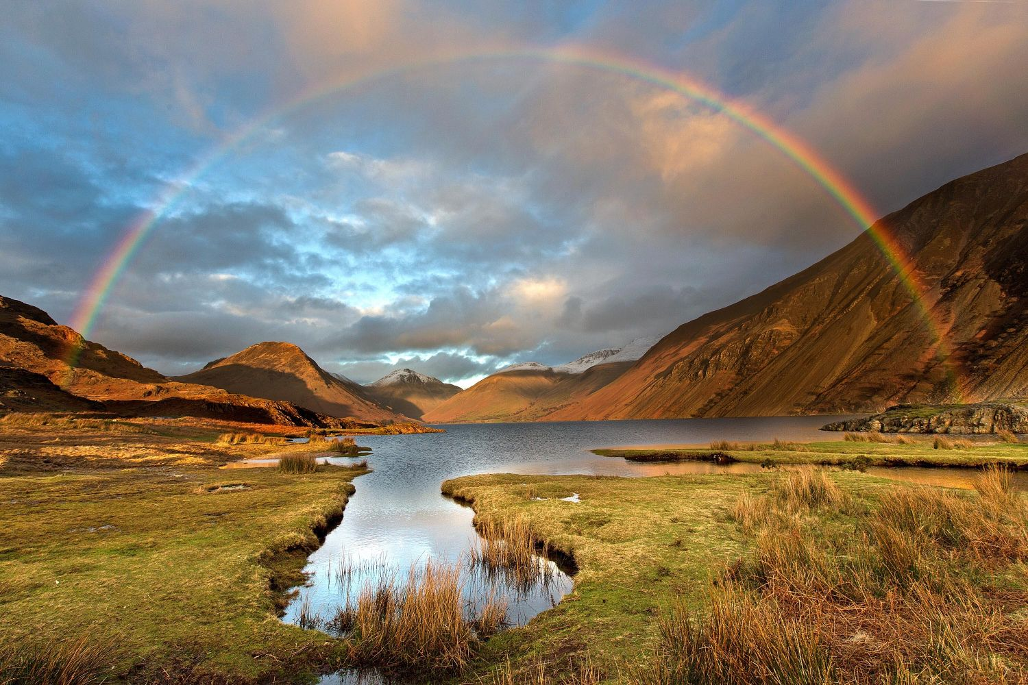 Rainbow at sunset over Wastwater