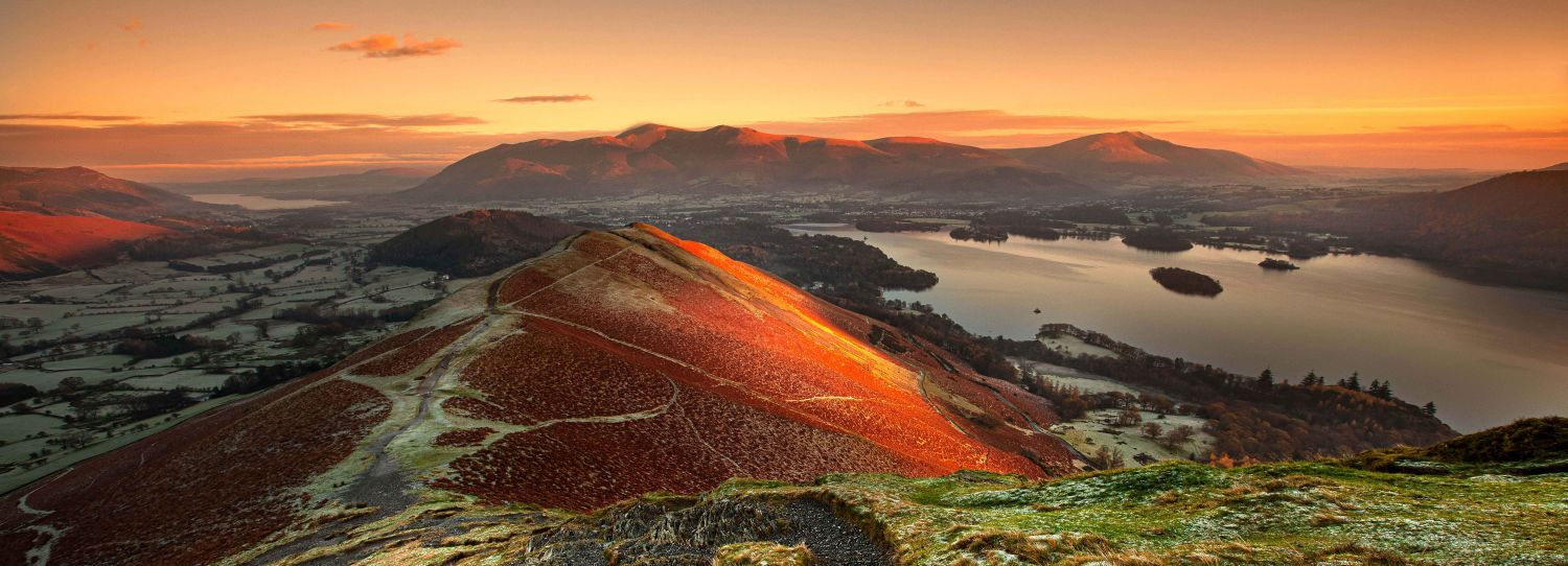 First Light on Catbells and Skiddaw panorama