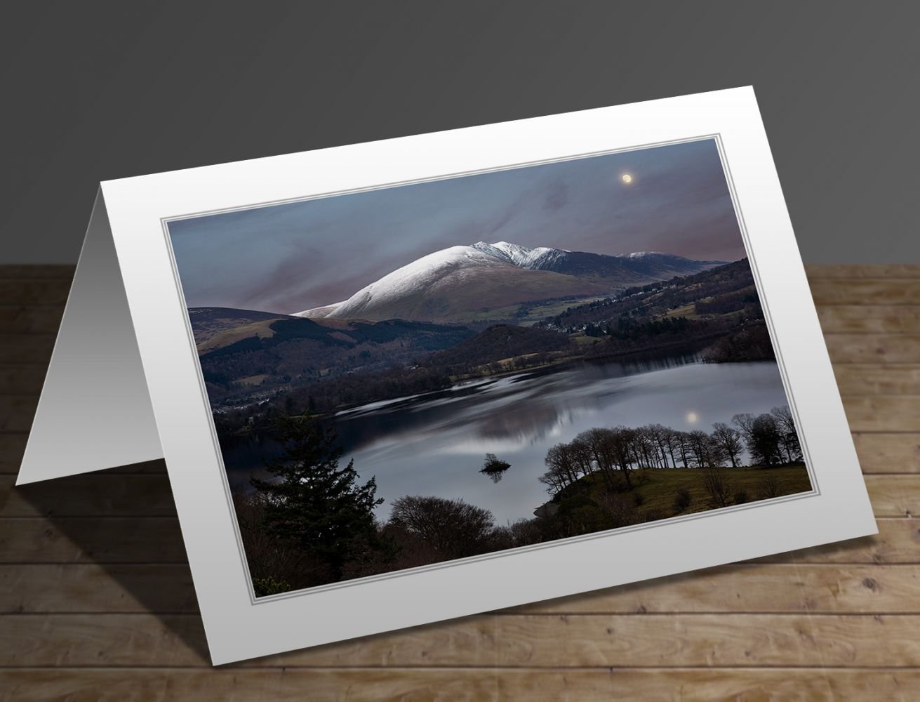 A greeting card containing the image Moonrise over Blencathra by Martin Lawrence