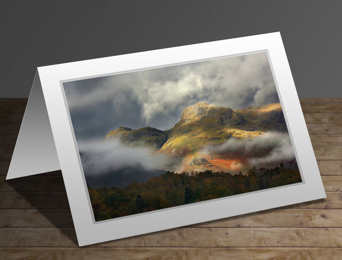 A greetings card containing the image Harrison Stickle and Loft Crag in the Langdales by Martin Lawrence
