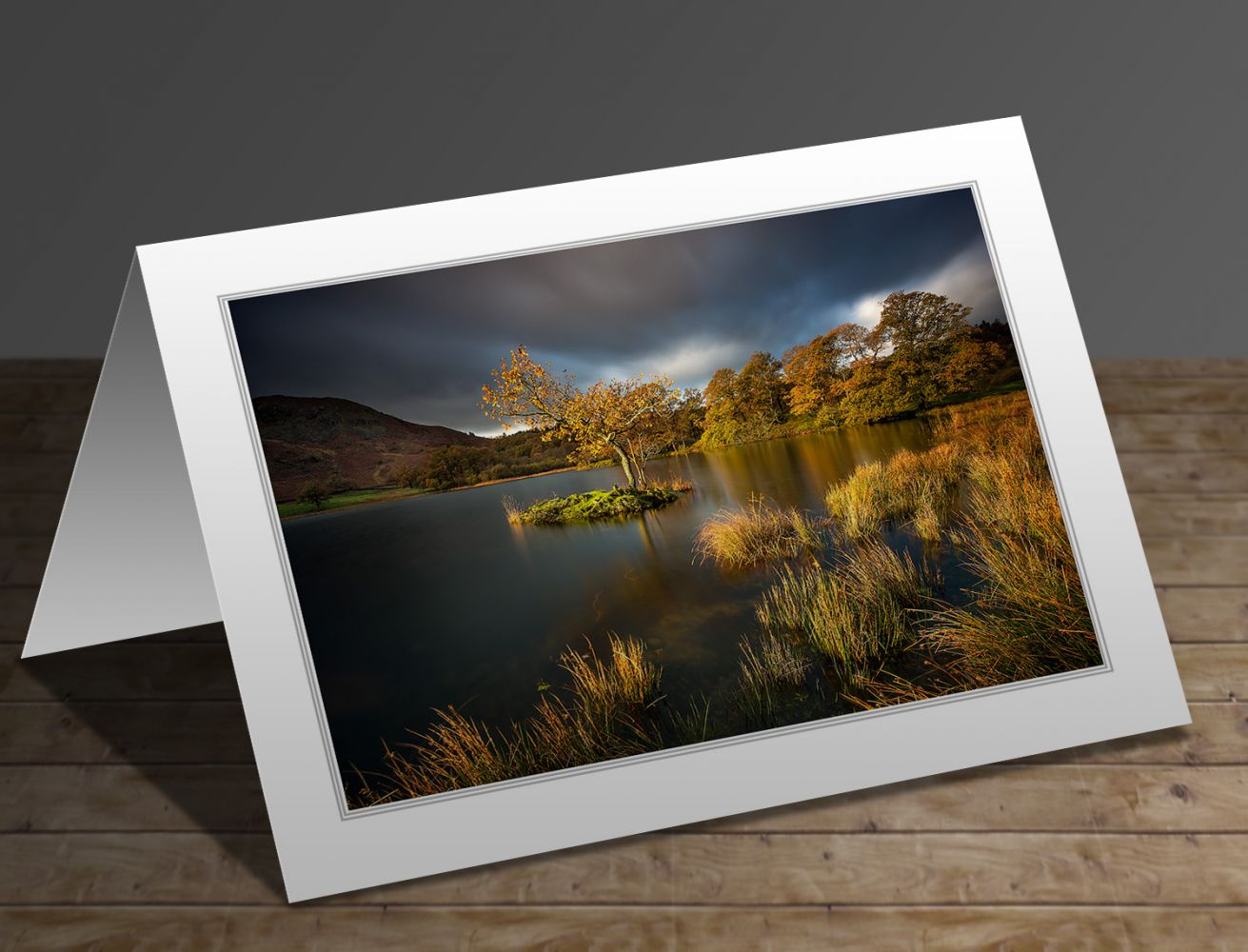 A greetings card containing the image Autumn Light on Rydal Water by Martin Lawrence