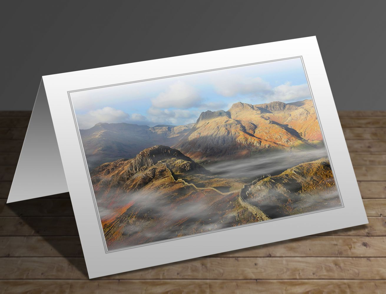 A greetings card containing the image Side Pike and the Langdale Pikes in early morning light by Martin Lawrence