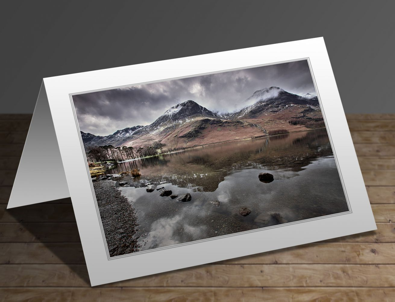 A greetings card containing the image Melting snow on High Crag Buttermere by Martin Lawrence