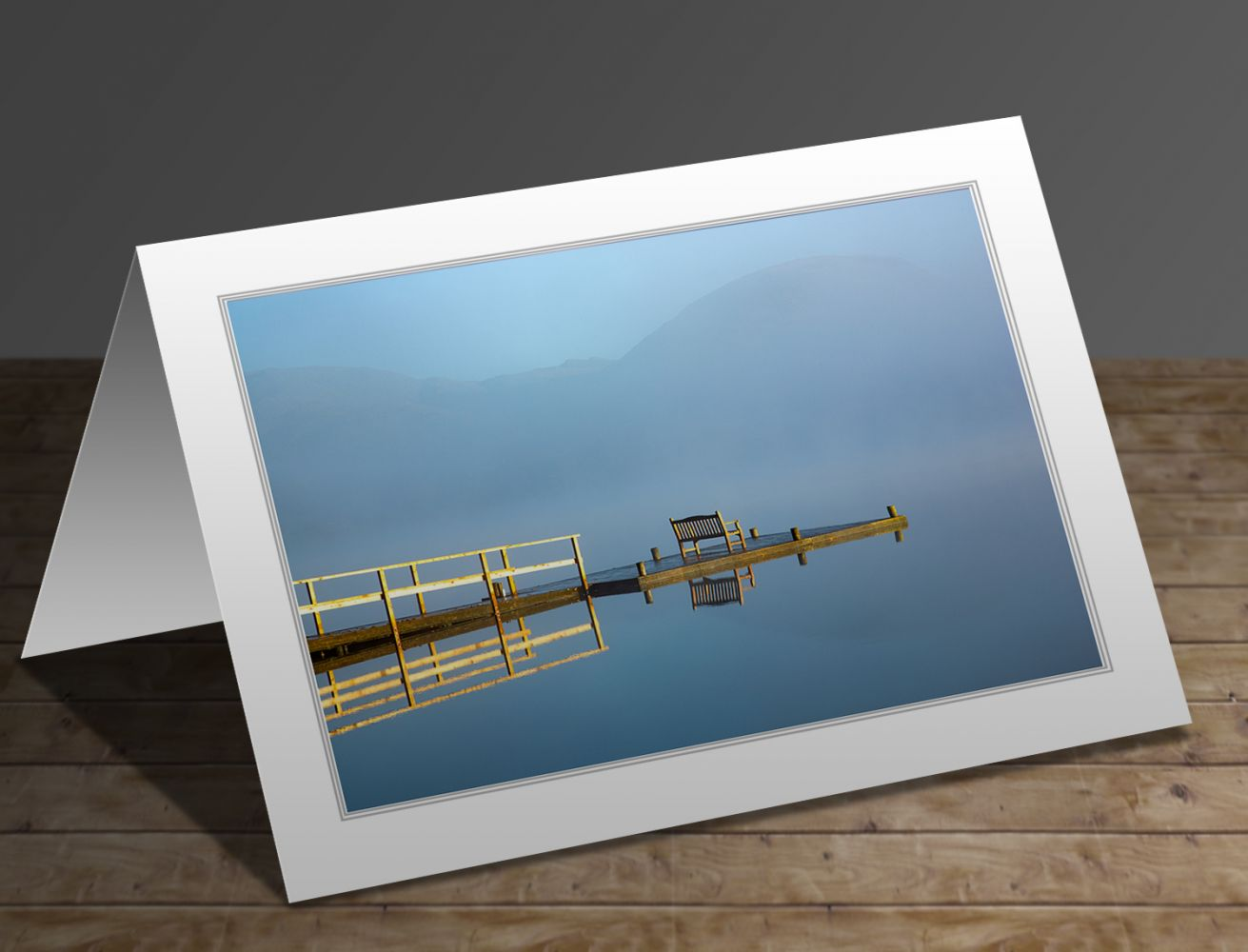A greetings card containing the image Pullwood Bay Jetty Windermere by Martin Lawrence