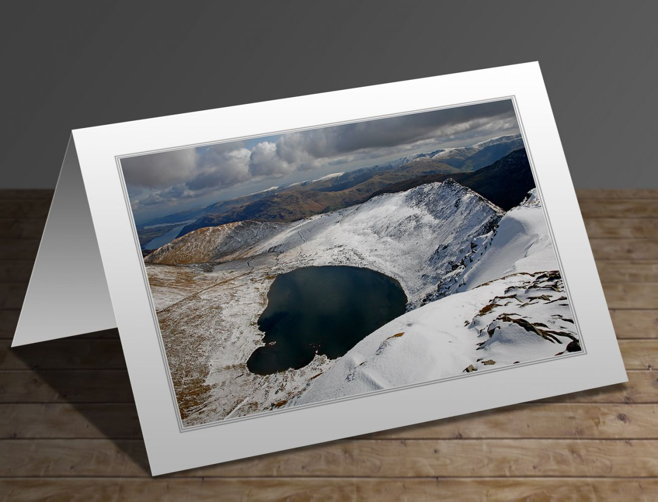 A greetings card containing the image Snow on Helvellyn and Striding Edge by Martin Lawrence