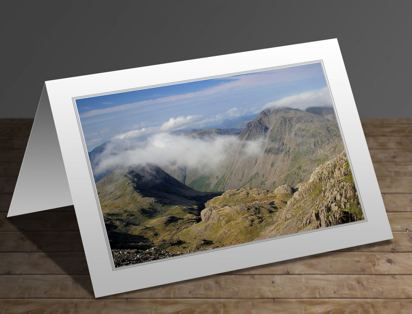 A greetings card containing the image Great Gable and Kirk Fell from the Corridor Route by Martin Lawrence