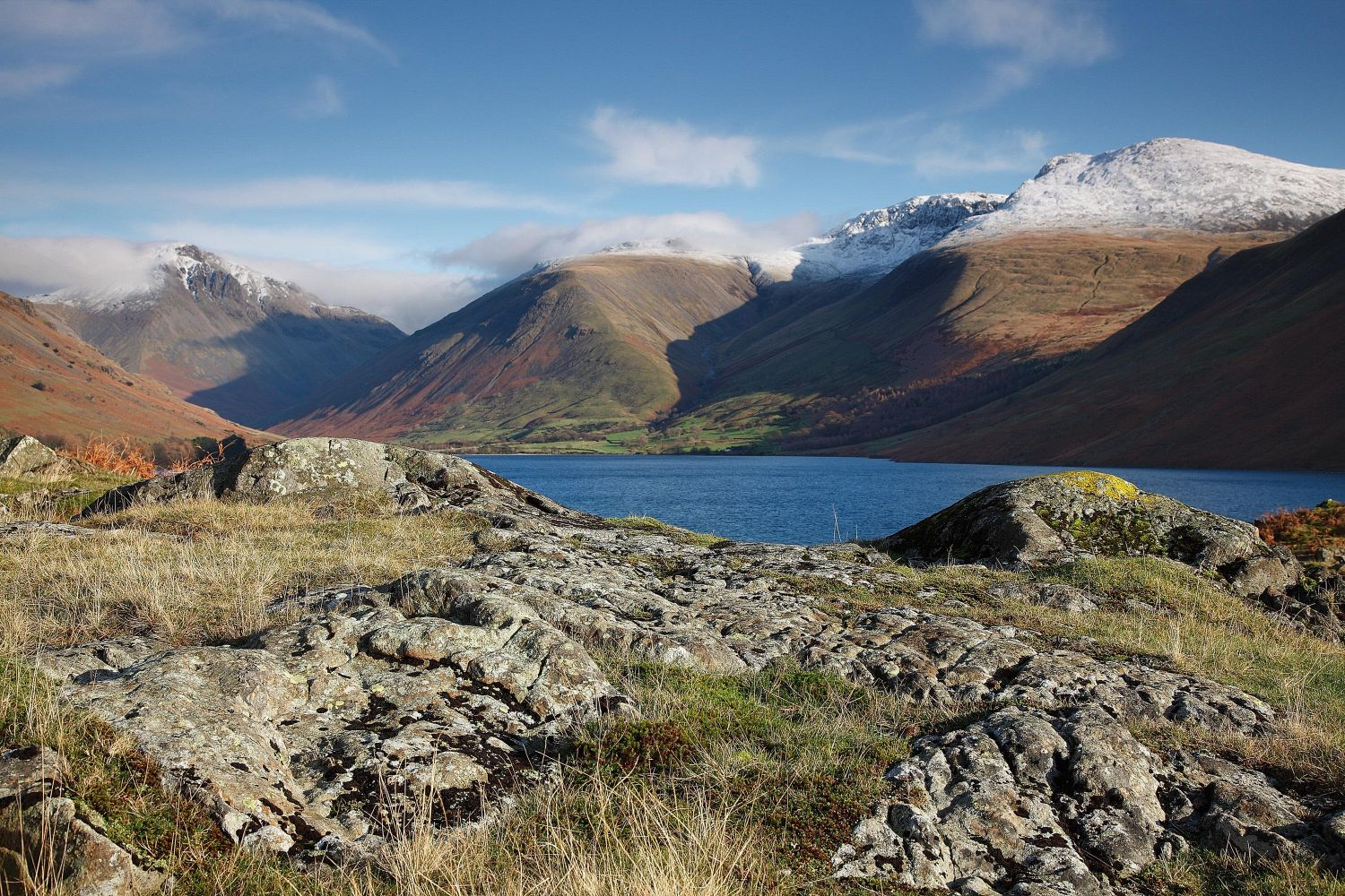 Snow on Scafell Pike from Wasdale