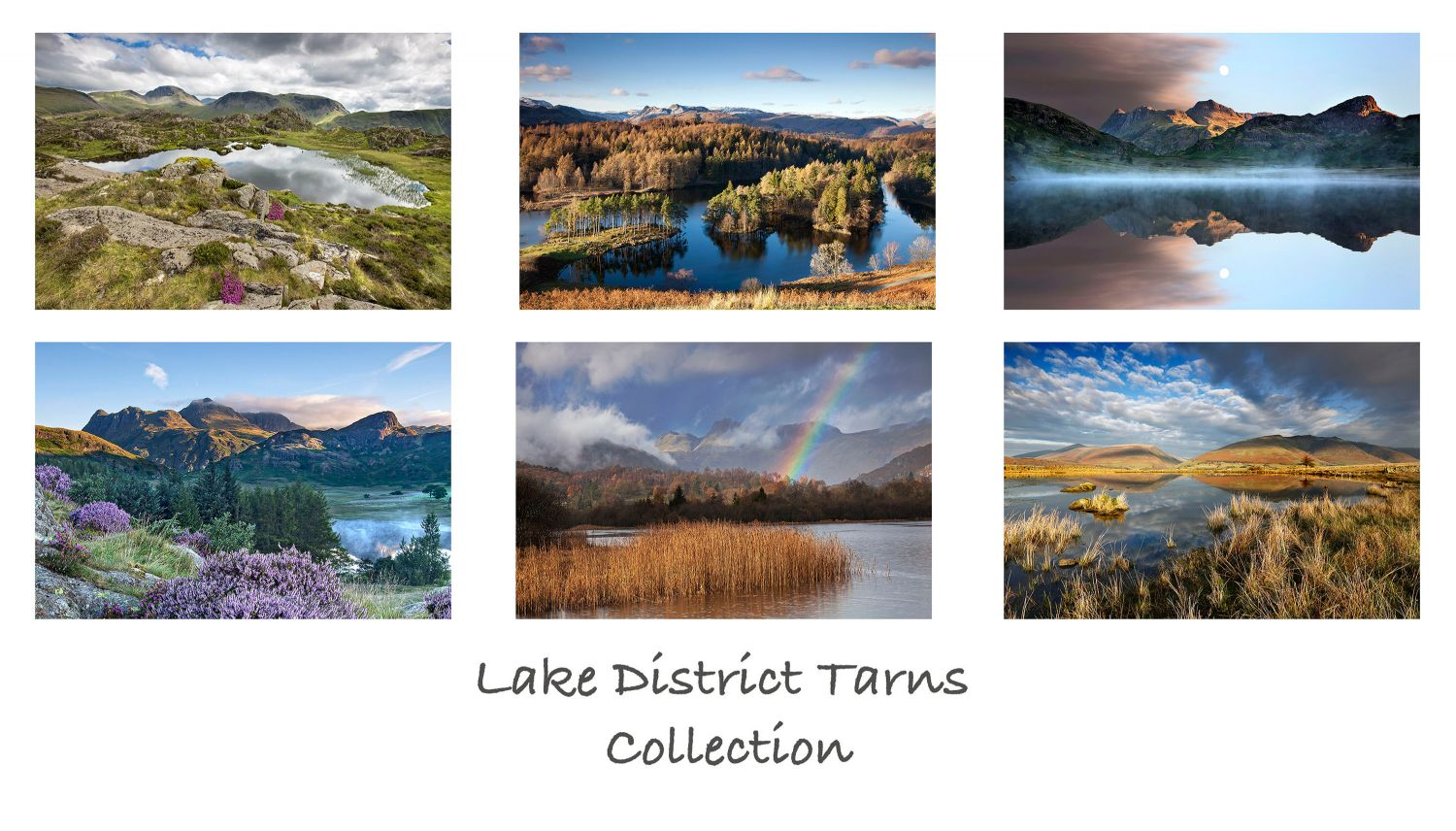 A pack of 6 Lake District Greeting cards featuring stunning images of some of the English Lake District's most famous tarns including Blea Tarn and Elterwater Tarn