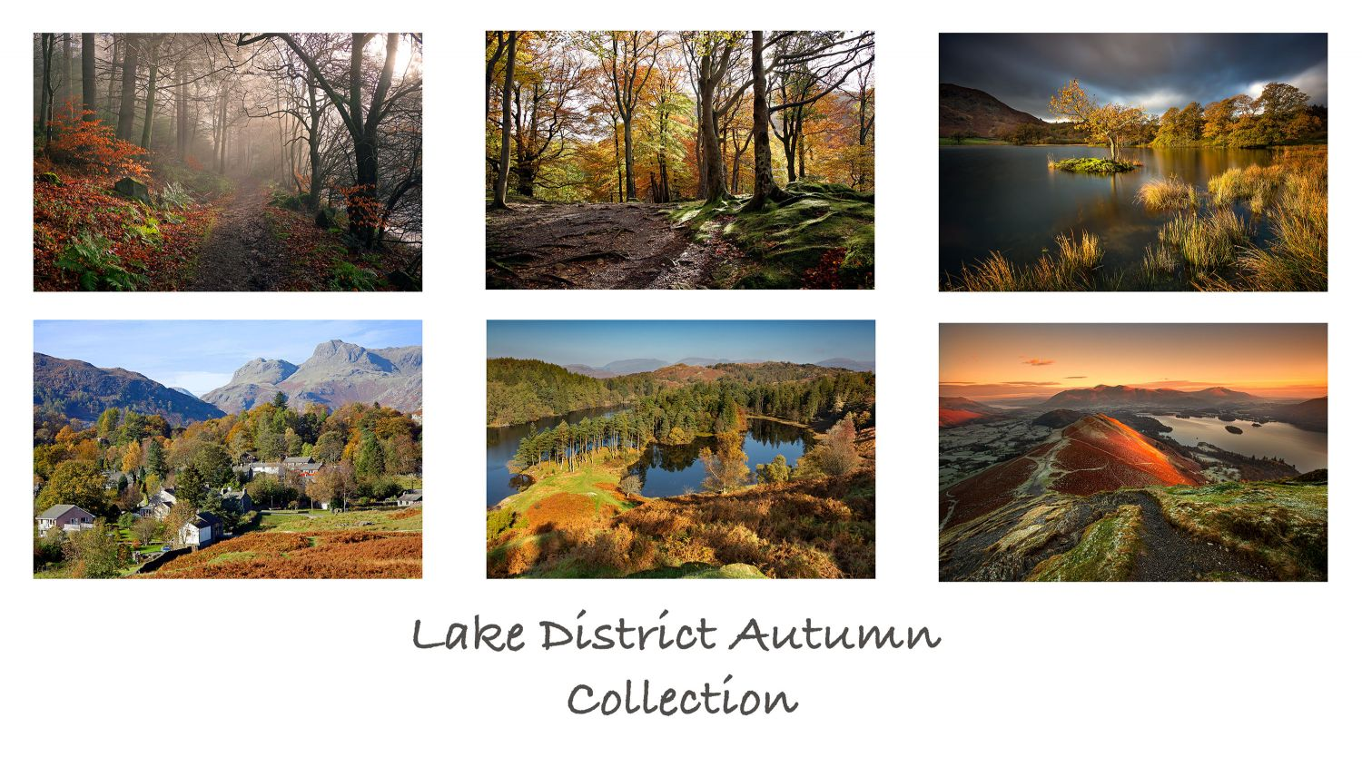A pack of 6 Lake District Greeting Cards featuring stunning images of beautiful English Lake District autumn scenes at Bassenthwaite, Elterwater, Tarn Hows, Derwentwater and Grasmere.