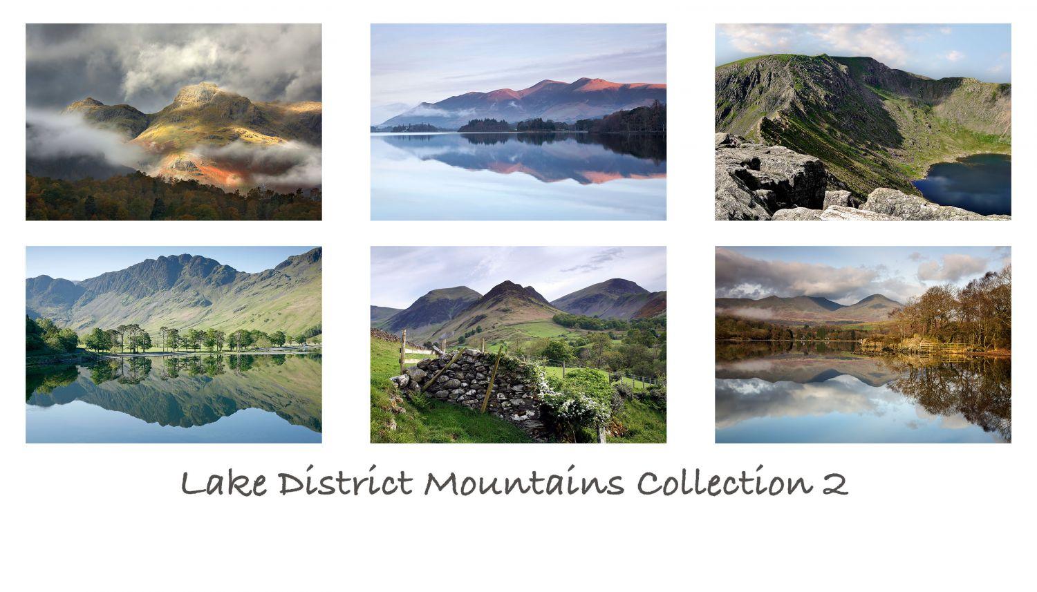 A pack of 6 Lake District Greeting cards featuring stunning images of some of the English Lake District's most famous mountains including Skiddaw and Haystacks.