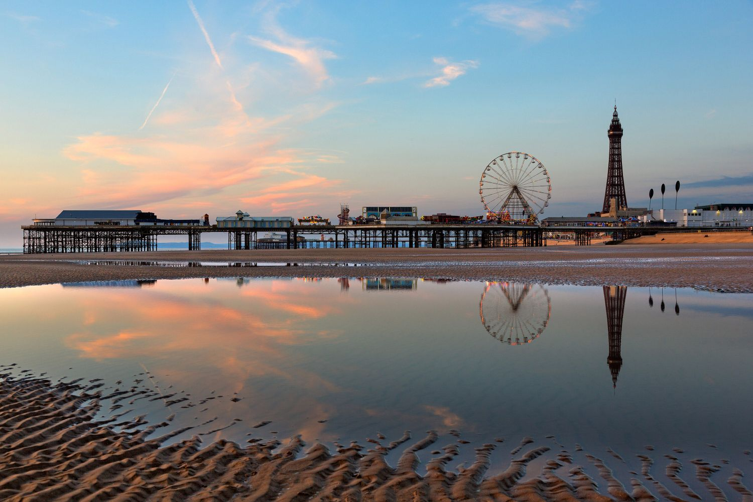 Autumn sunset over Blackpool Beach and Central Pier