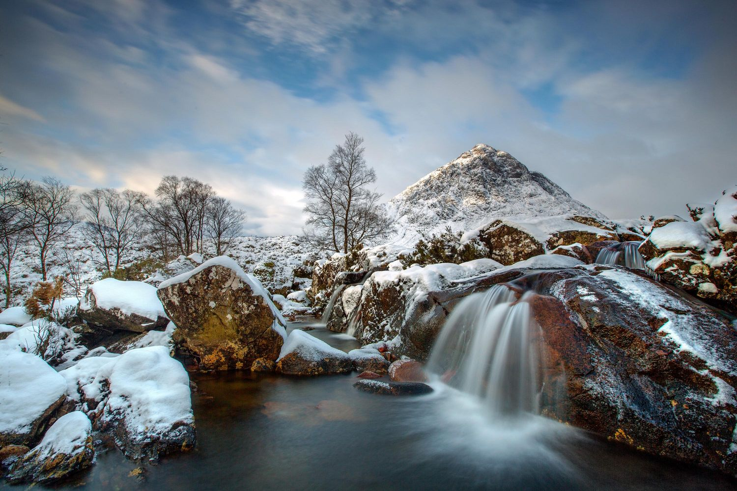 An image of the River Coupall Waterfall and Buachaille Etive Mor deep in winter snow.
