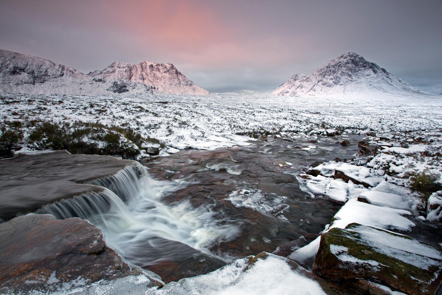 The Cauldron Falls, Rannoch Moor, Glencoe with Buachaille Etive Mor and Creise
