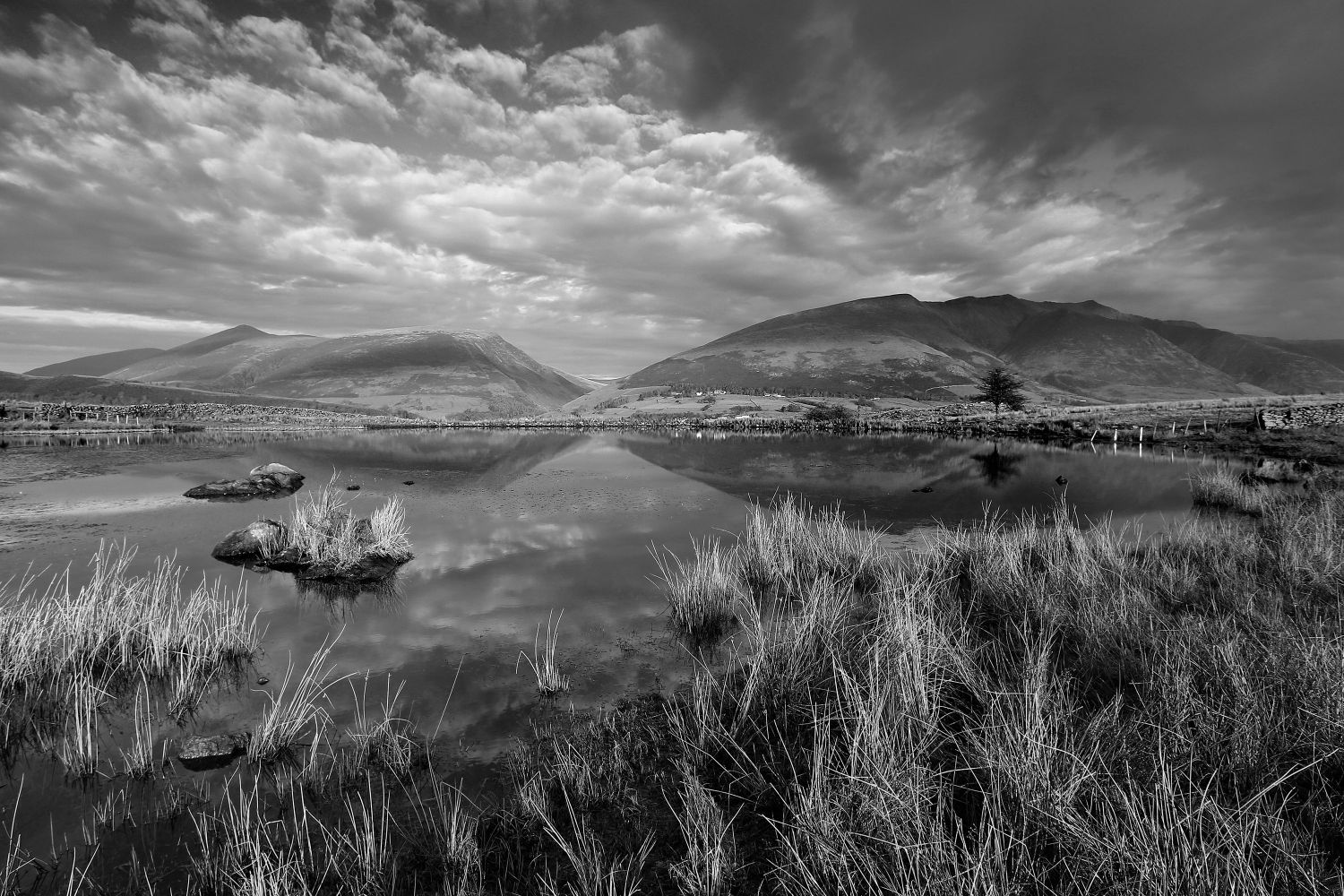 Blencathra and Skiddaw from Tewet Tarn in Black and White
