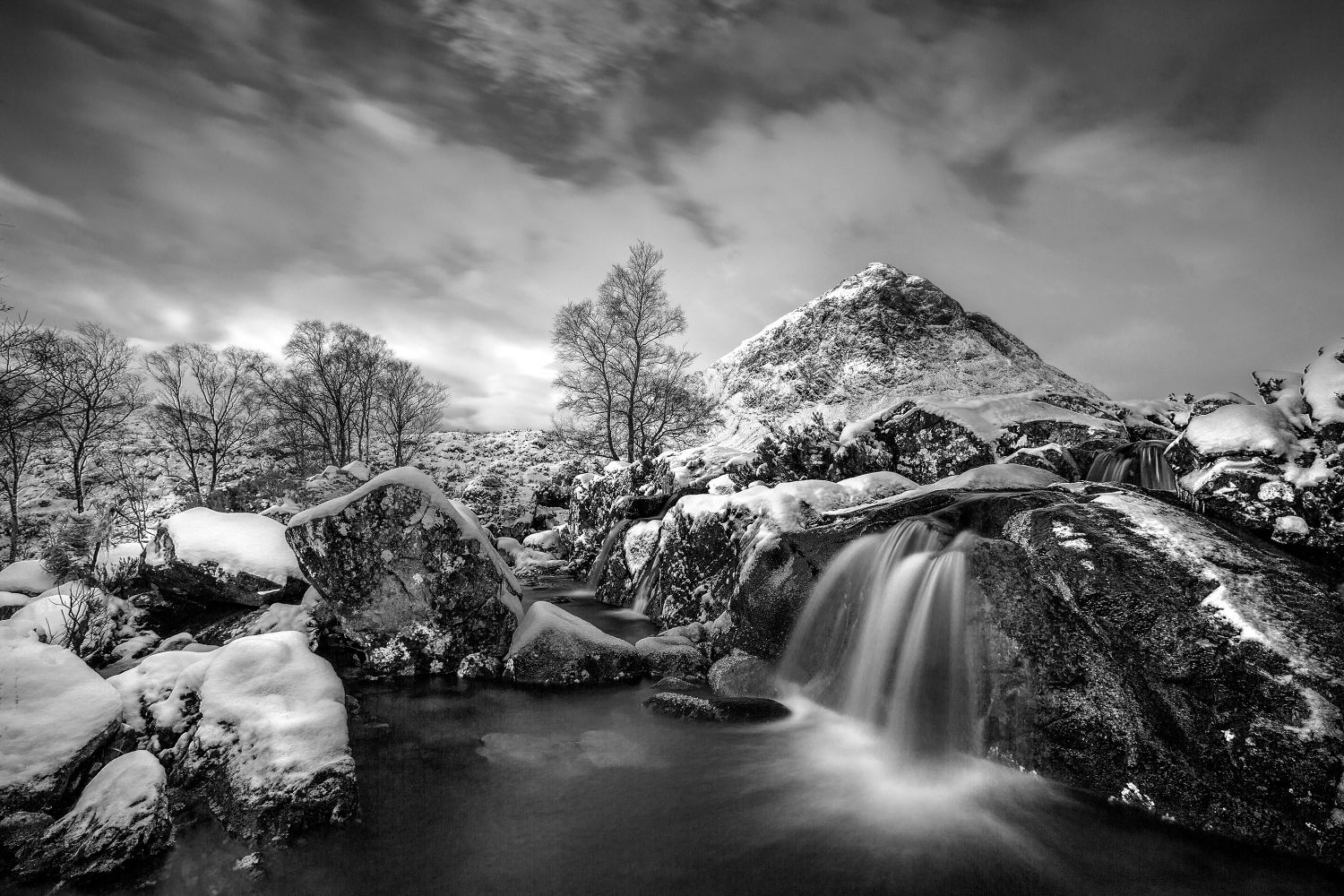 River Coupal Waterfall and Buachaille Etive Mor in Black and White