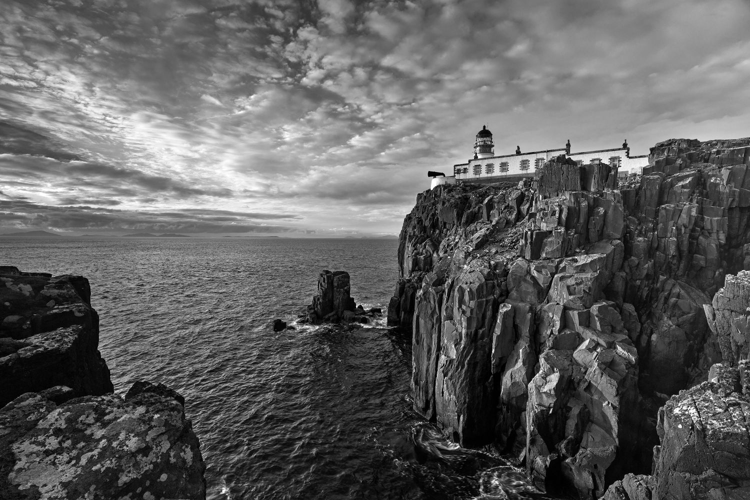 Neist Point Lighthouse Isle of Skye in Black and White