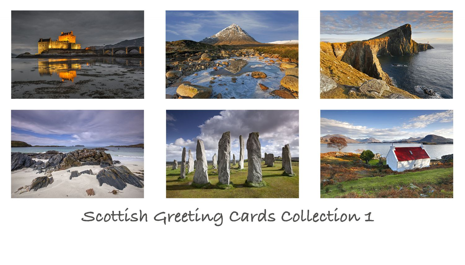 A pack of 6 Scottish Greeting cards featuring stunning images of some of Scotland's most famous locations including Glencoe, Isle of Skye and Isle of Lewis
