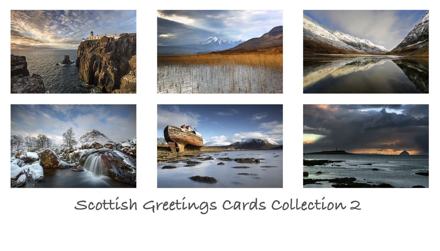 A pack of 6 Scottish Greeting cards featuring stunning images of some of Scotland's most famous locations including Glencoe, Isle of Skye and Isle of Arran