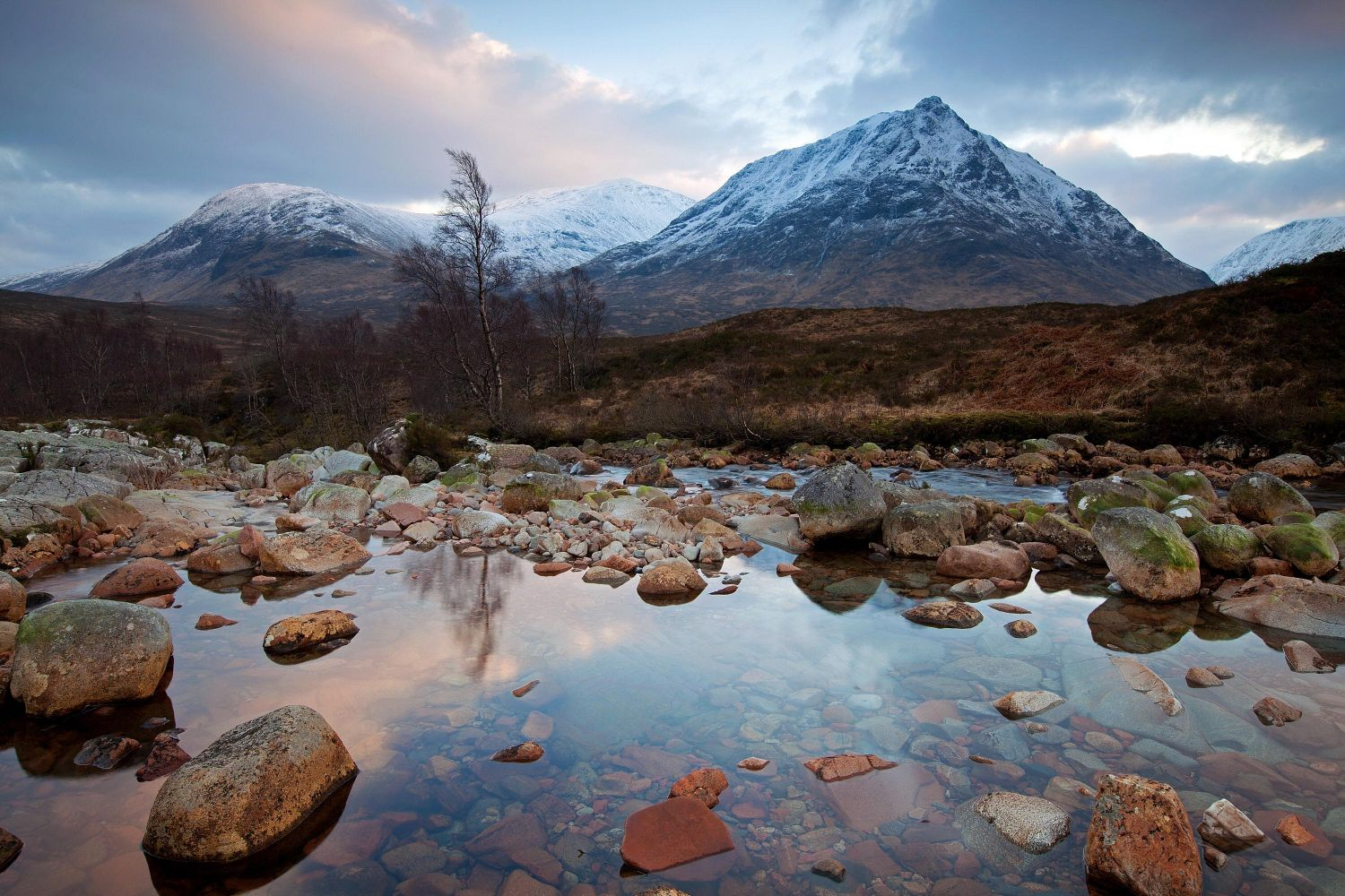 Meall a'Bhuiridh and Creise at Glencoe rising above the head of Glen Etive.
