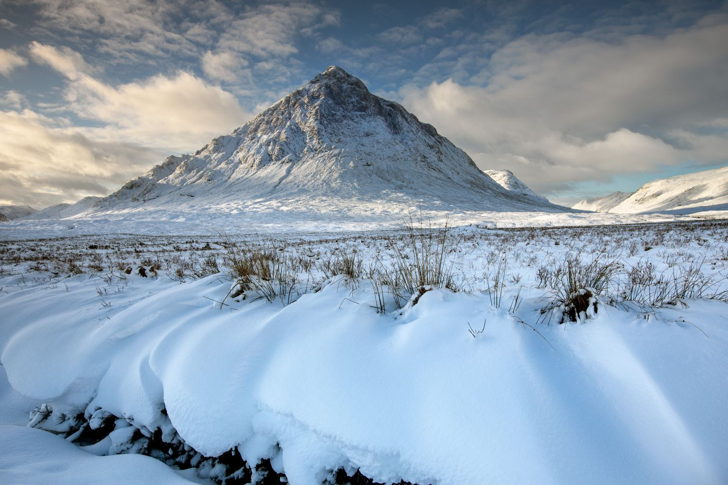A classic winter shot of Buachille Etive Mor surrounded by snow along the River Coupall