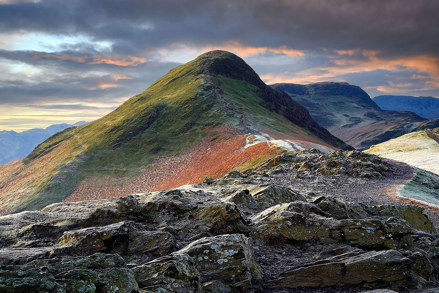 Sunset on the descent of Catbells by Martin Lawrence