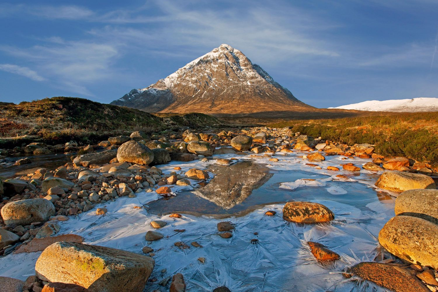 Buachaille Etive Mor reflections in the River Coupall