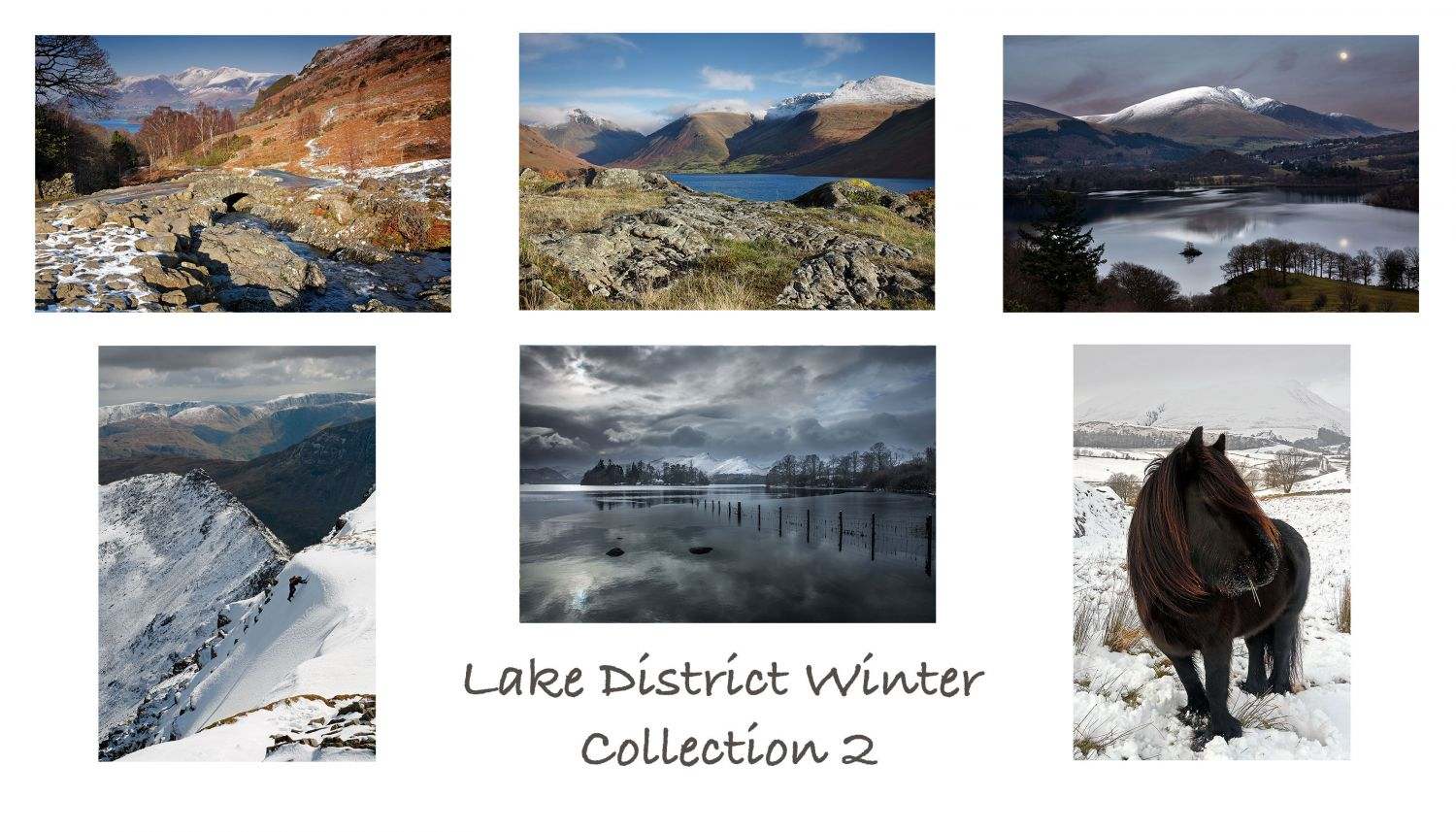 A pack of 6 Lake District Greeting cards featuring stunning snowy images of some of the beautiful English Lake District lakes and mountains.