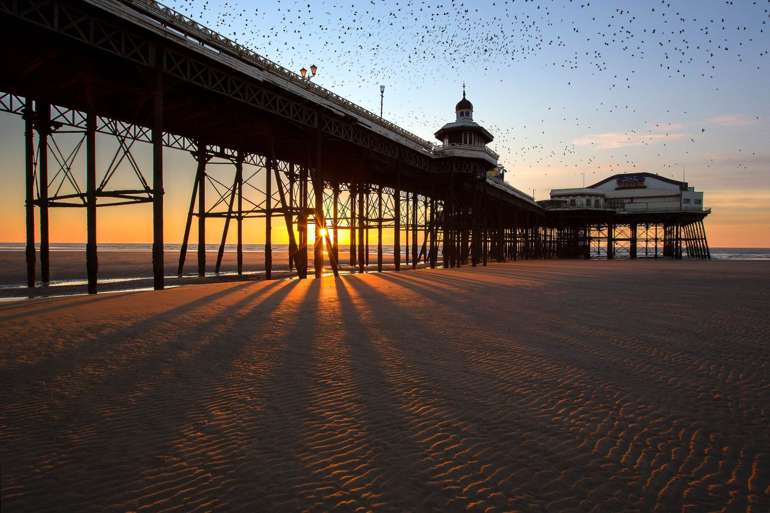 A murmuration of starlings at Blackpool North Pier