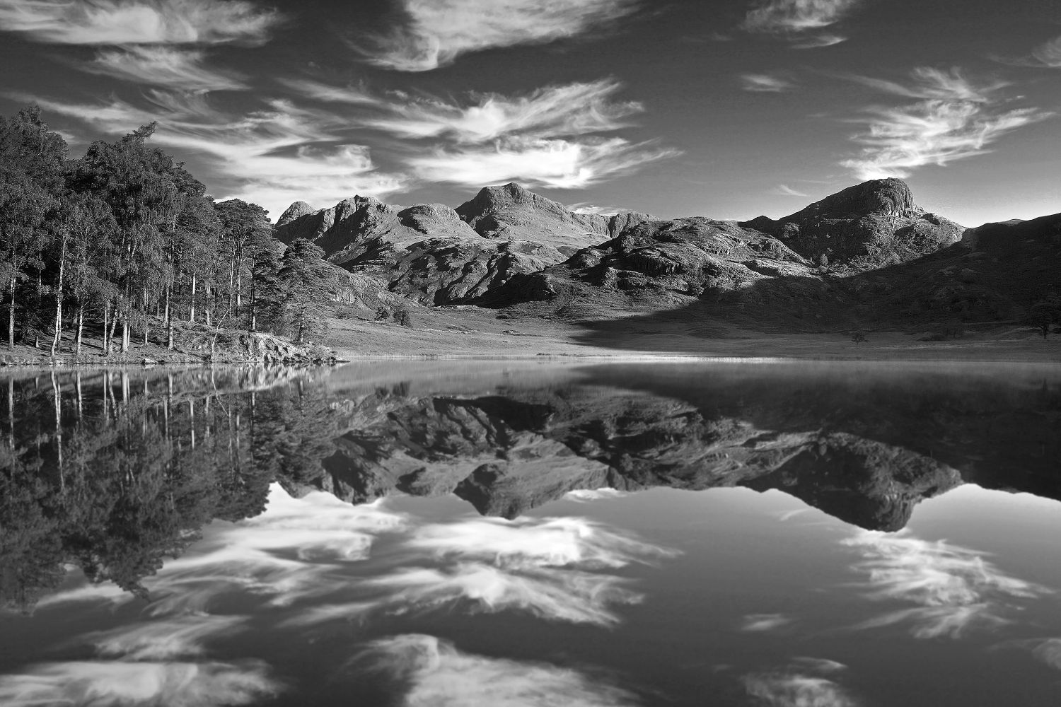 Dancing clouds over the Langdales and Blea Tarn in Black and White by Martin Lawrence
