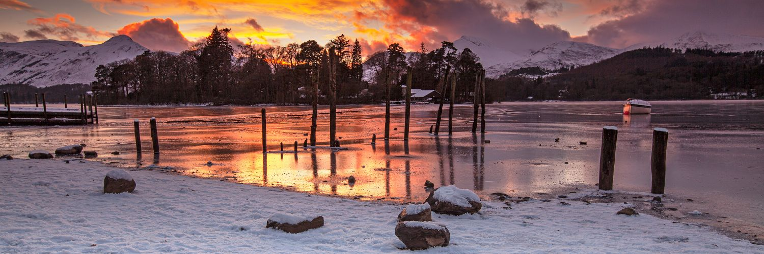 Sunset over a frozen Derwentwater by Landscape Photographer Martin Lawrence