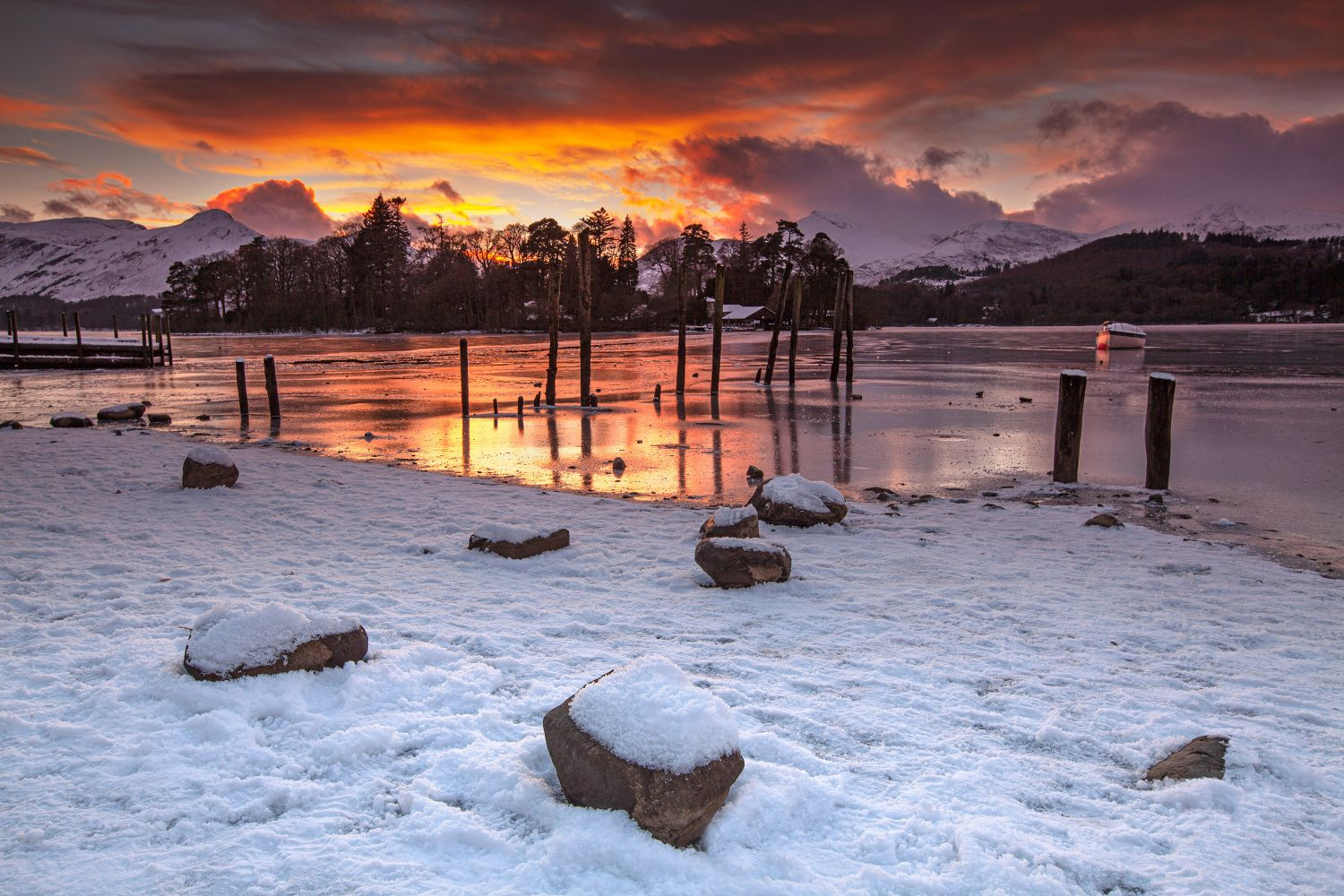 Sunset over Catbells and a frozen Derwentwater