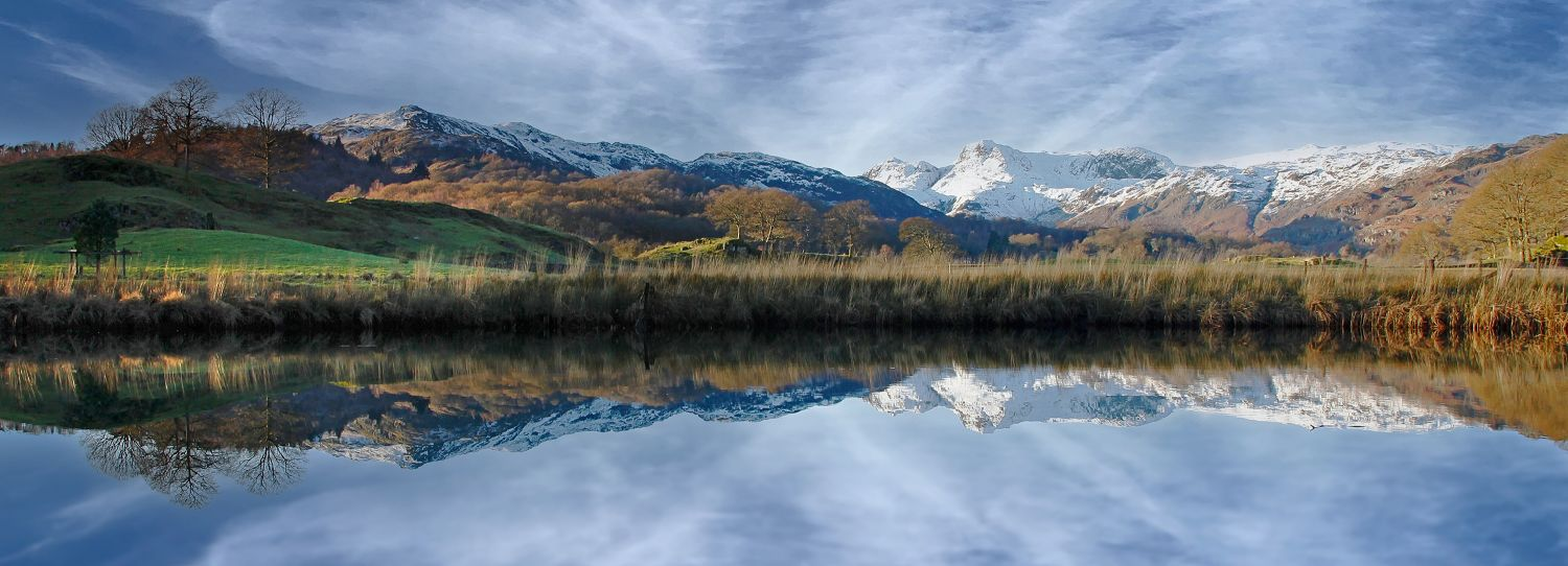 River Brathay and The Langdale Pikes by Martin Lawrence