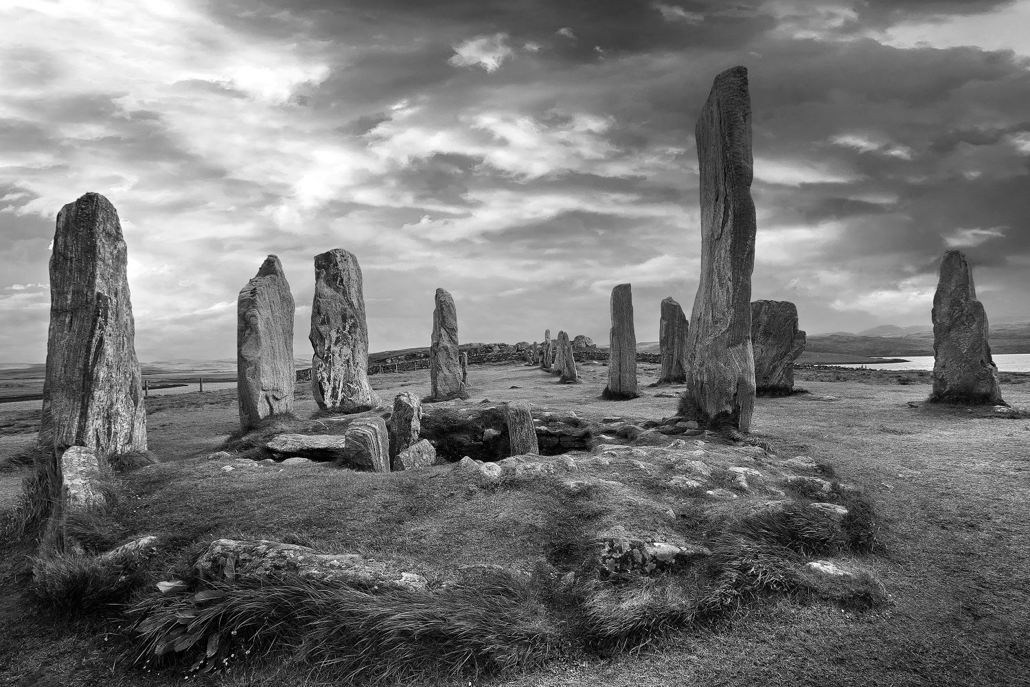 Callanish Standing Stones on the Isle of Lewis (2) in Black and White