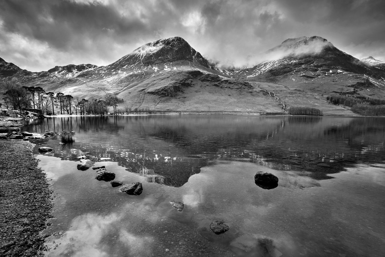 Melting snow on High Crag Buttermere in Black and White by Martin Lawrence