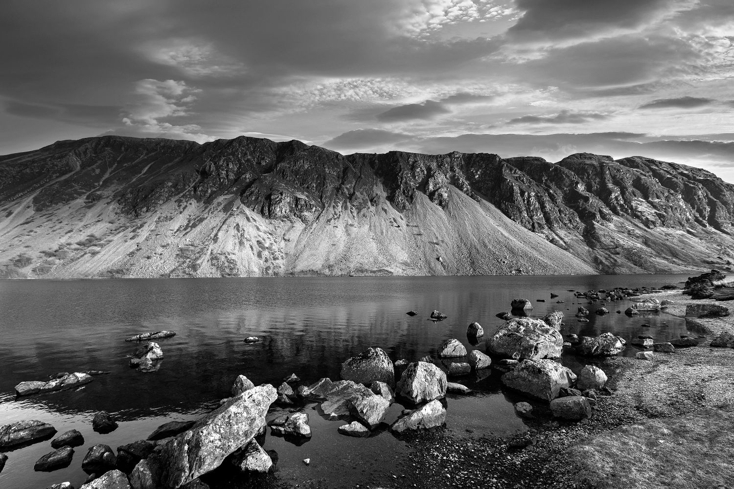 Sunset over the Wastwater Screes in Black and White by Martin Lawrence