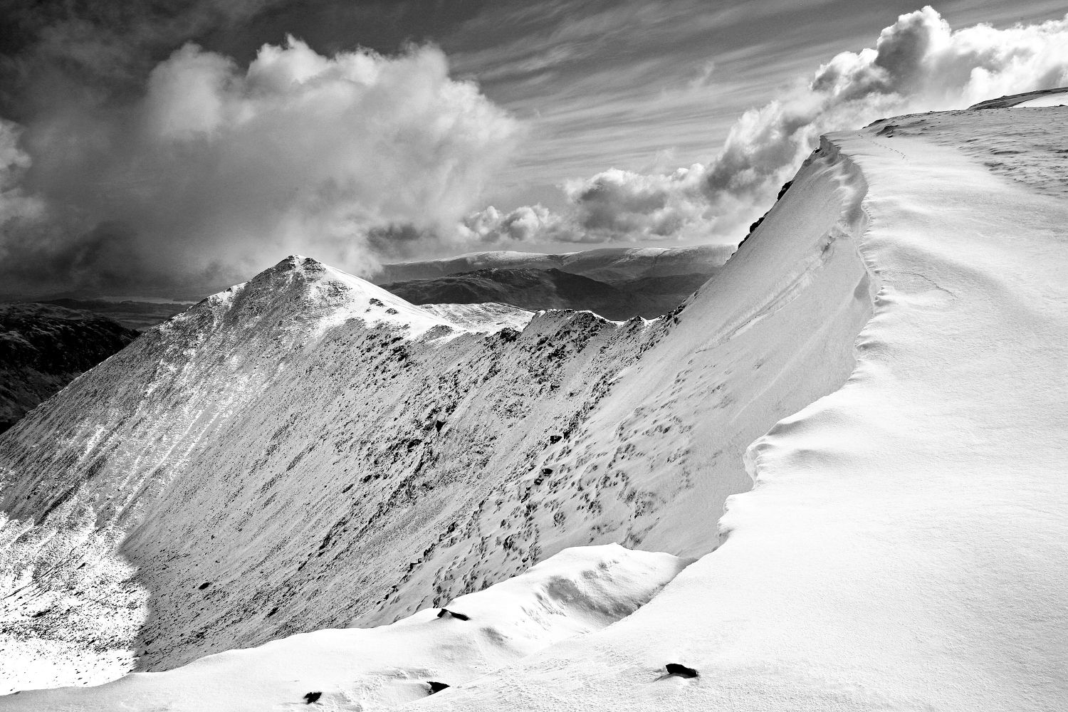 Swirral Edge from the approach to Helvellyn in Black and White by Martin Lawrence