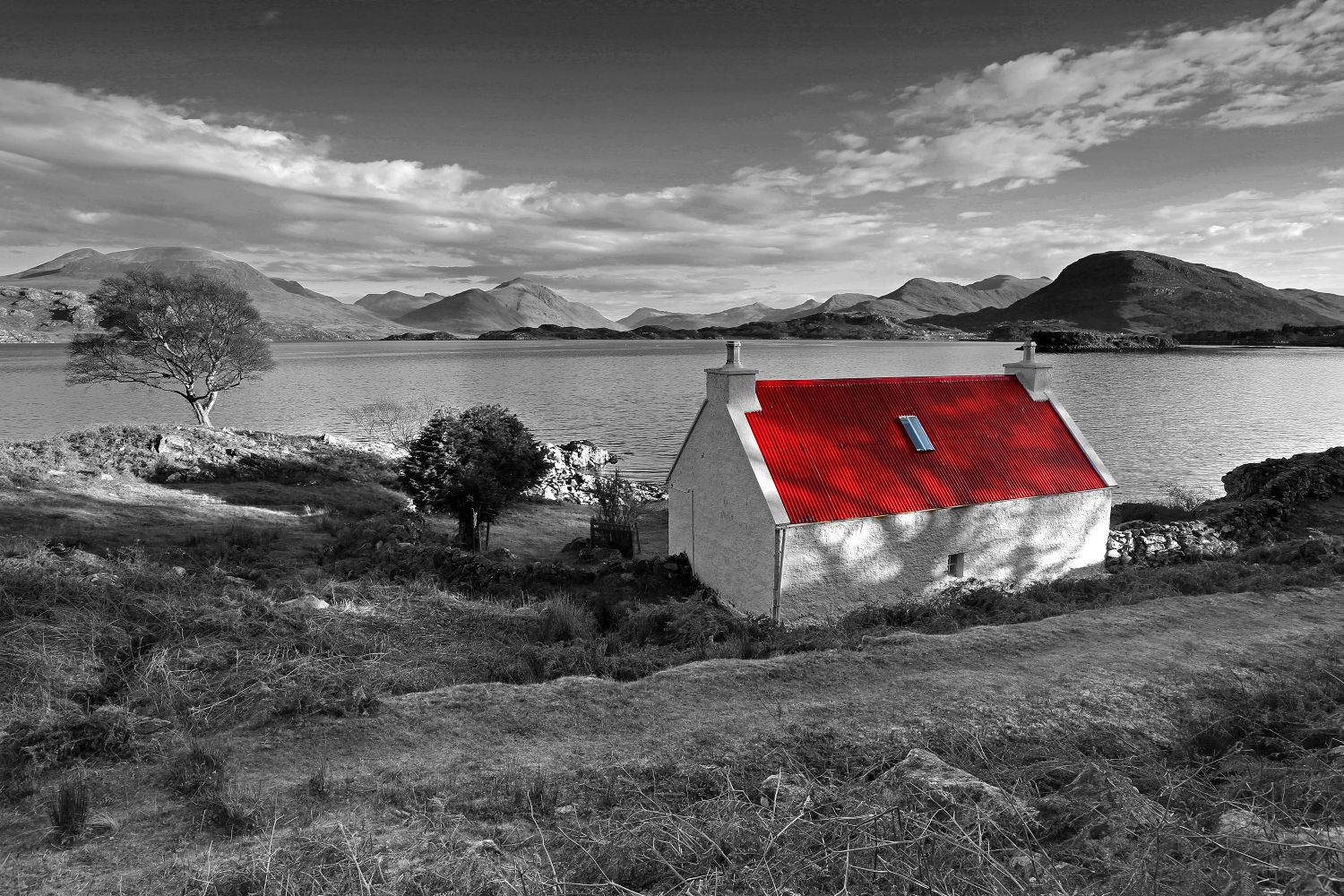 The famous Red Roof Cottage at Loch Shieldaig in Black and White by Martin Lawrence