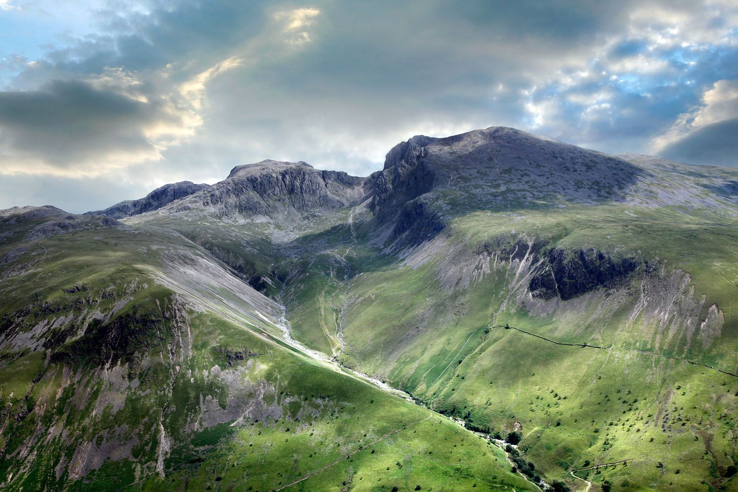Scafell and Scafell Pike from the summit of Yewbarrow