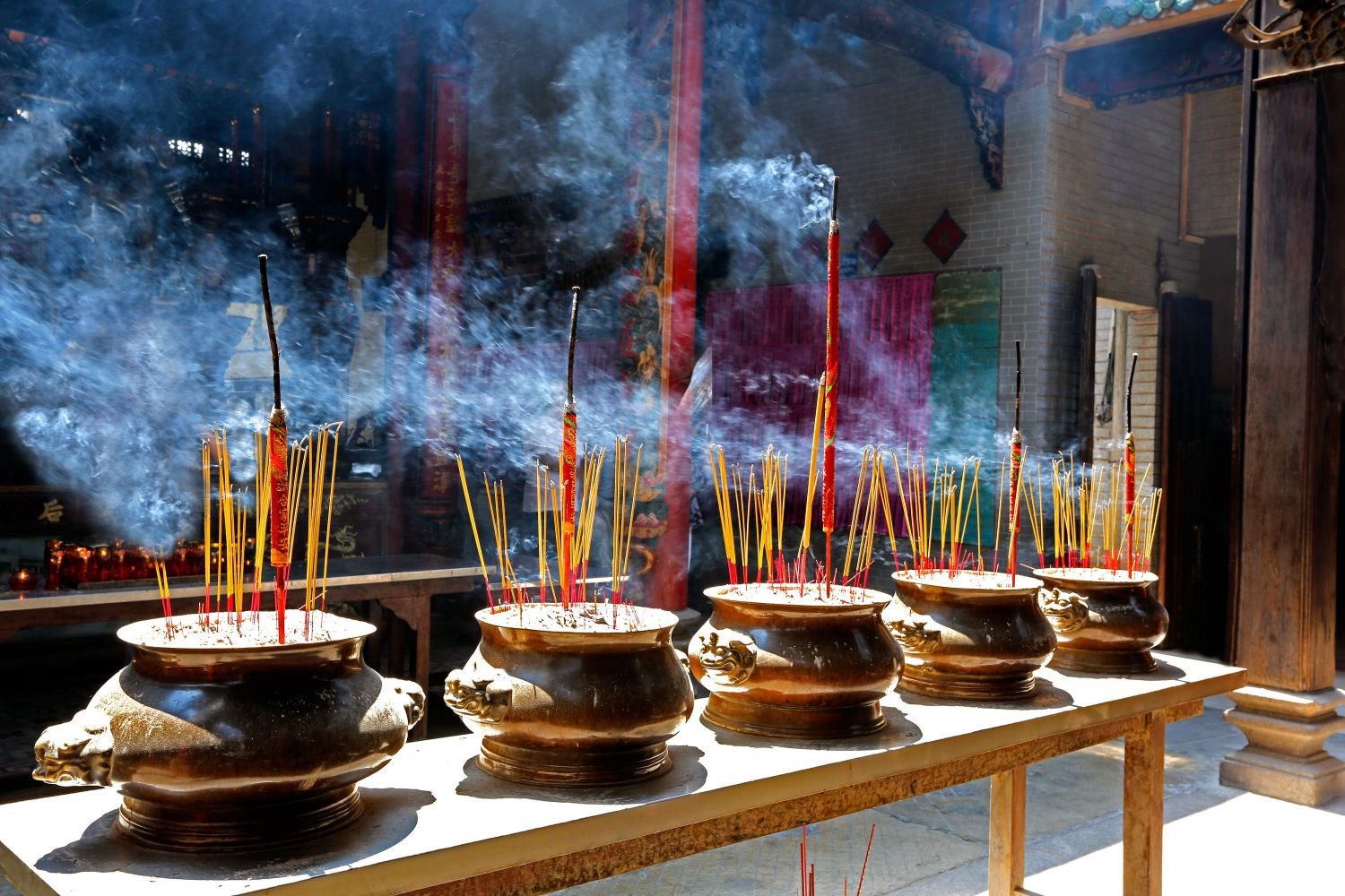 Joss sticks burning in a temple in Ho Chi Minh City Vietnam