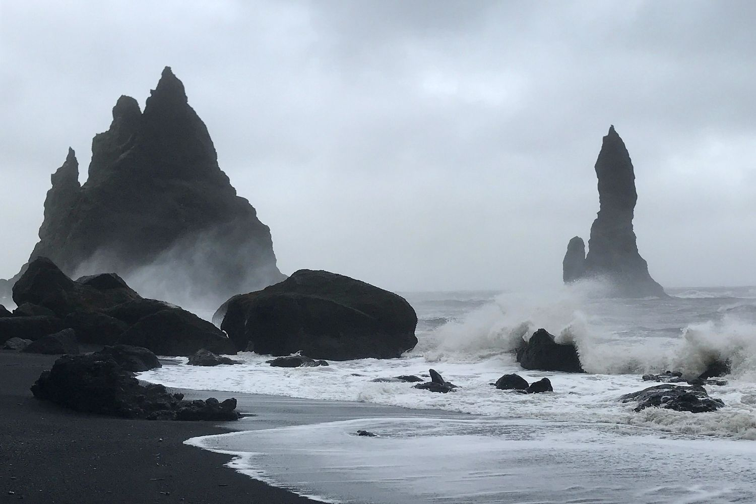 Reynisdrangar Basalt Sea Stacks at Vik Iceland