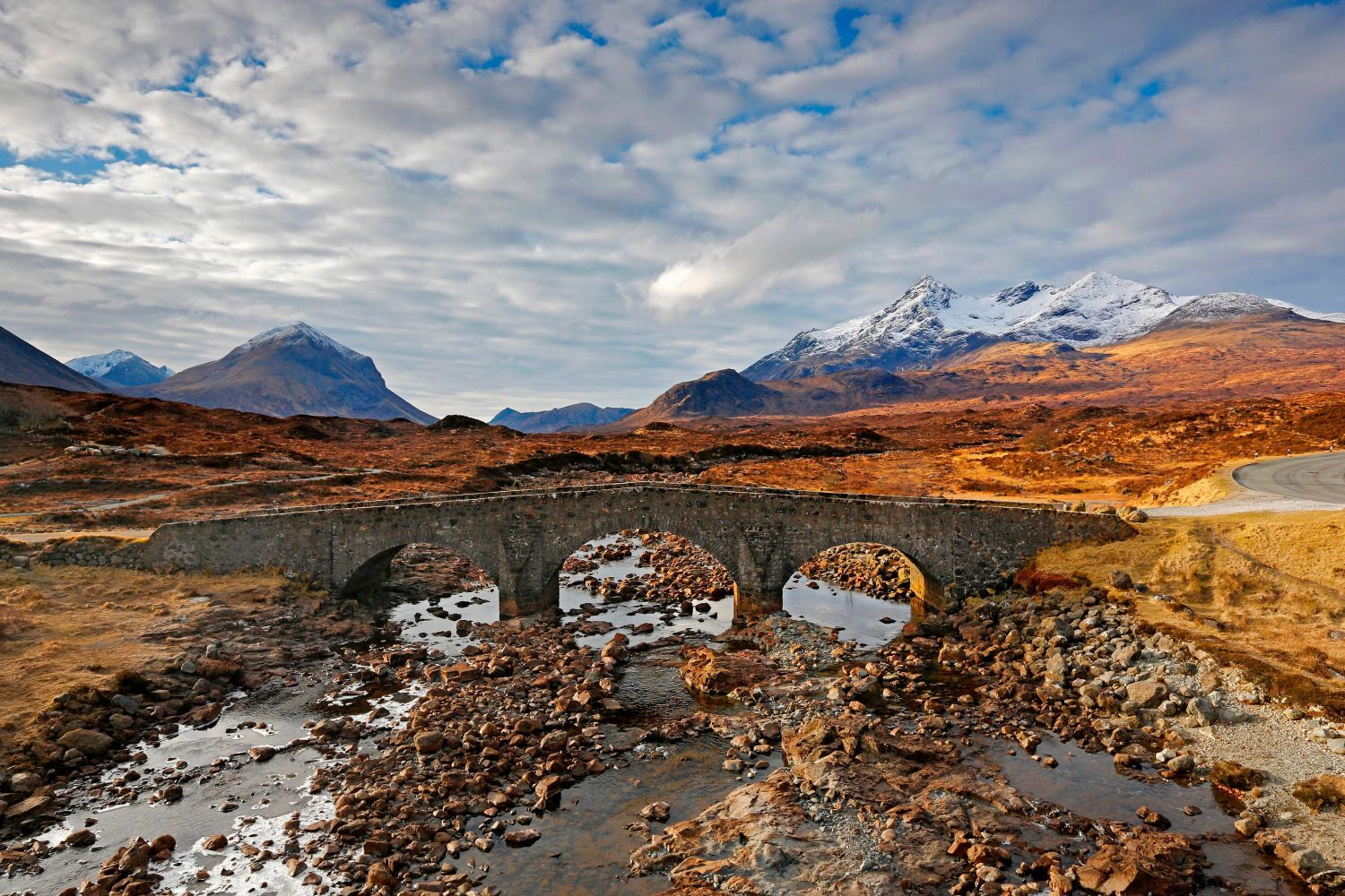 Bla Bheinn and the Cuillin from Sligachan Bridge