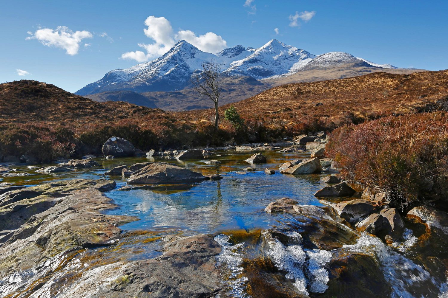 The Black Cuillin from Allt Dearg Mor just up from The Old Sligachan Bridge.