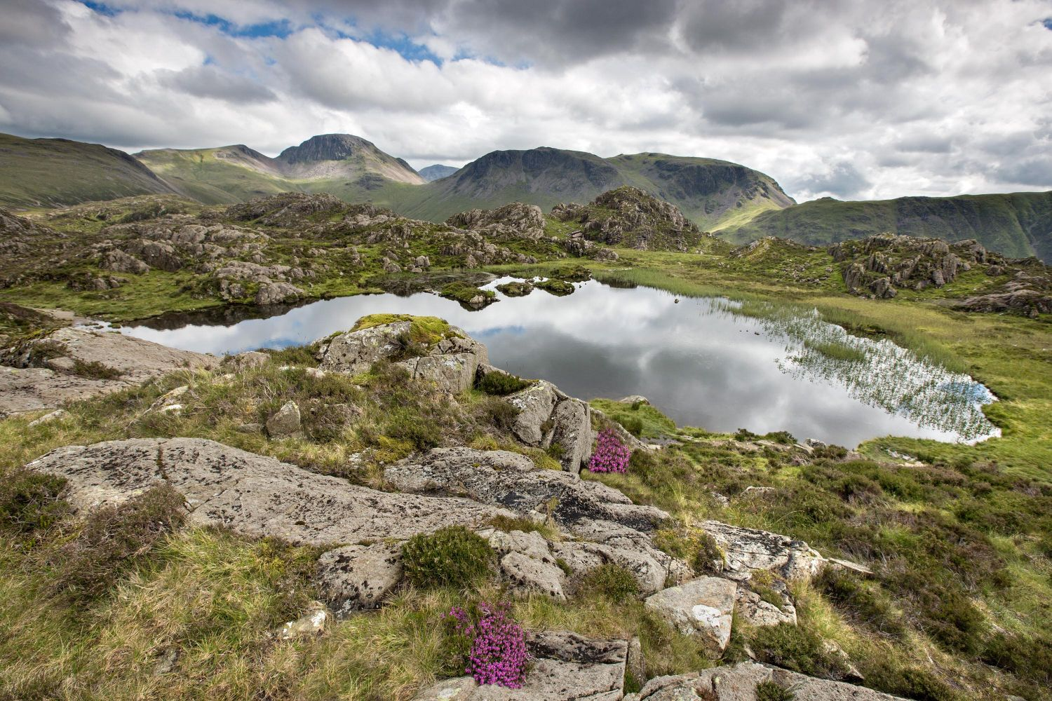Across Innominate Tarn to Great Gable and Scafell Pike from a higher than normal perspective