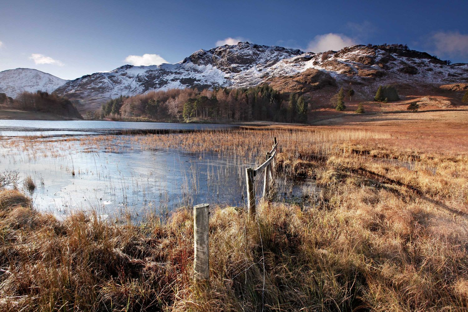 Blea Tarn Little Langdale with some early autumn snow