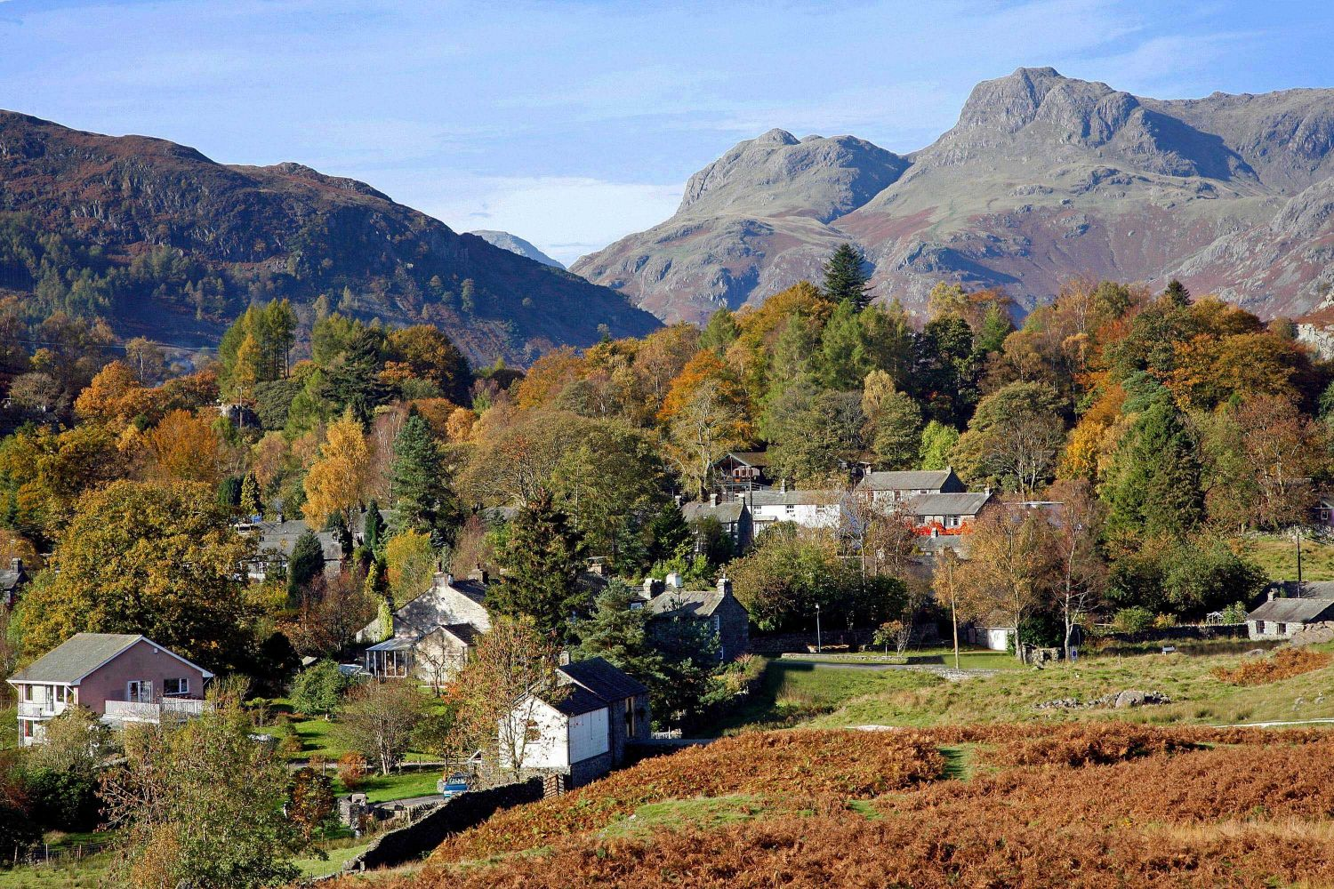 Elterwater Village and the Langdale Pikes in autumn