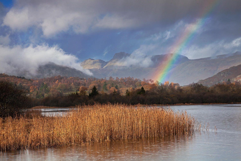 Langdales Rainbow at Elterwater Tarn