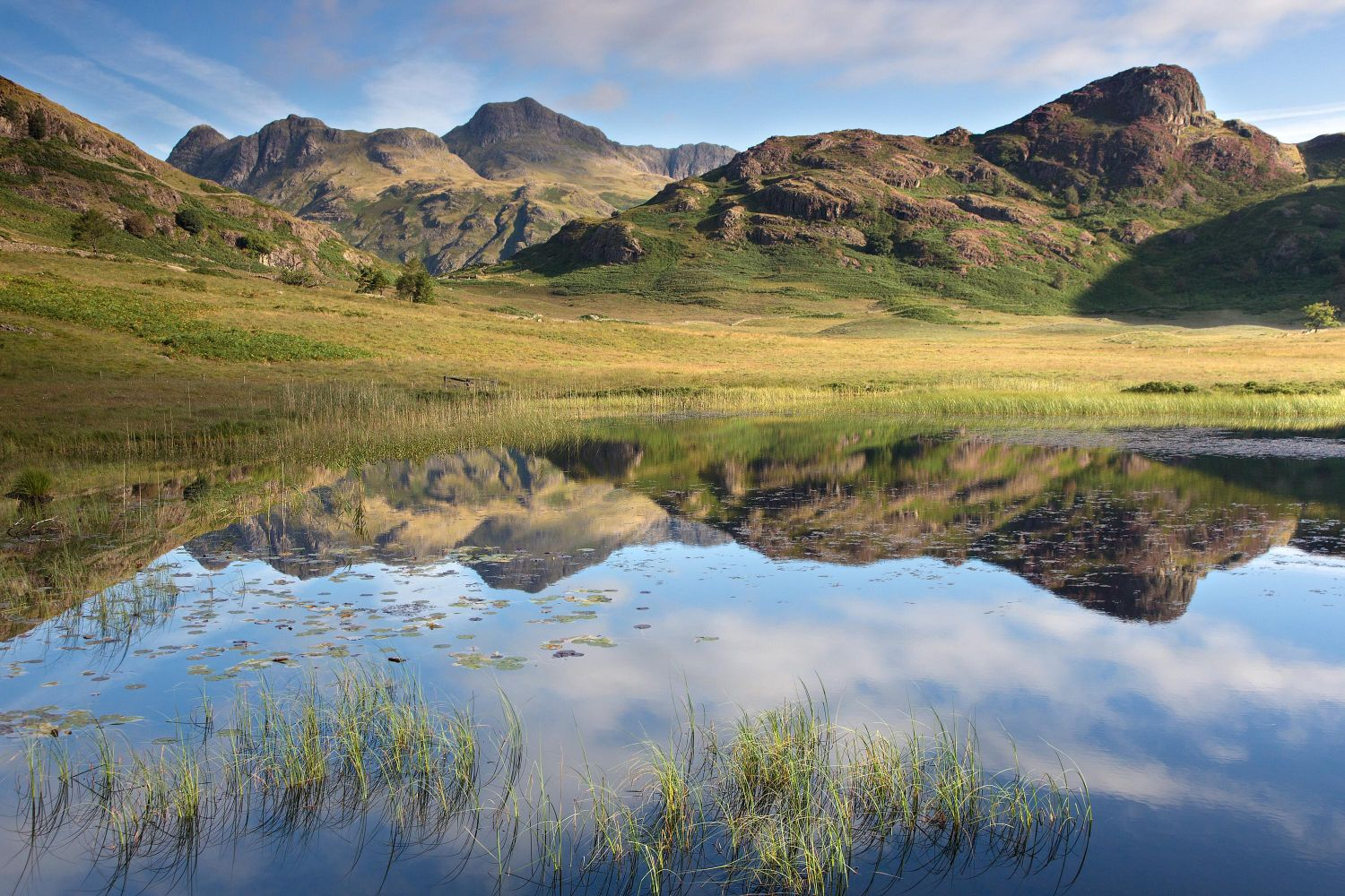 Reflections of the Langdales in Blea Tarn