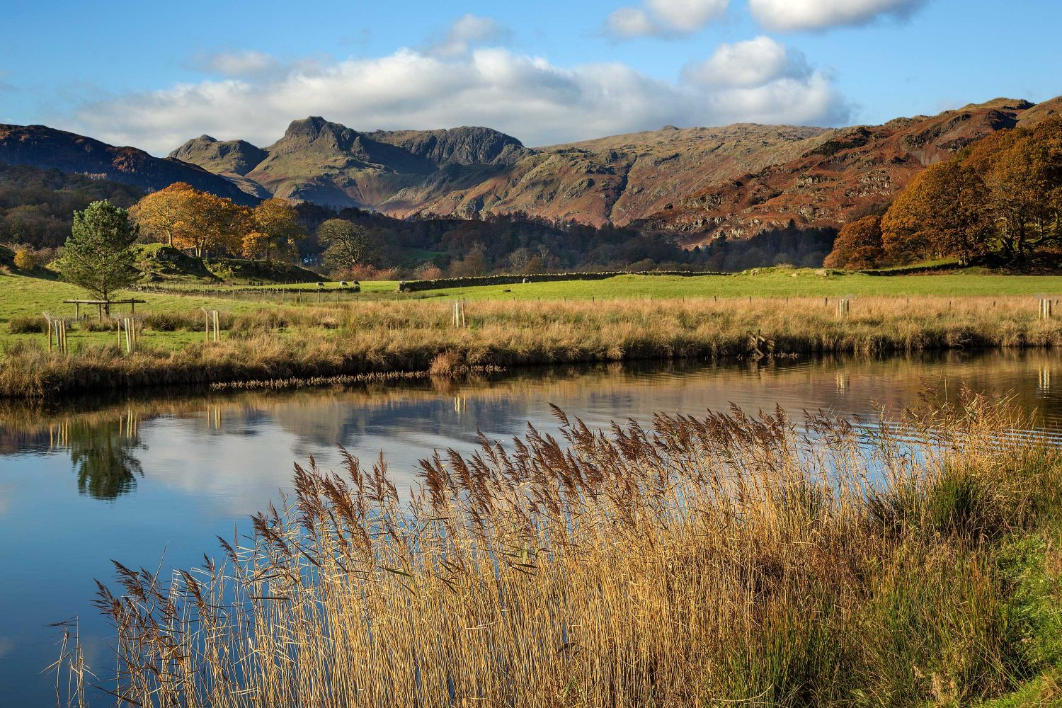 The Langdales over the River Brathay at Elterwater